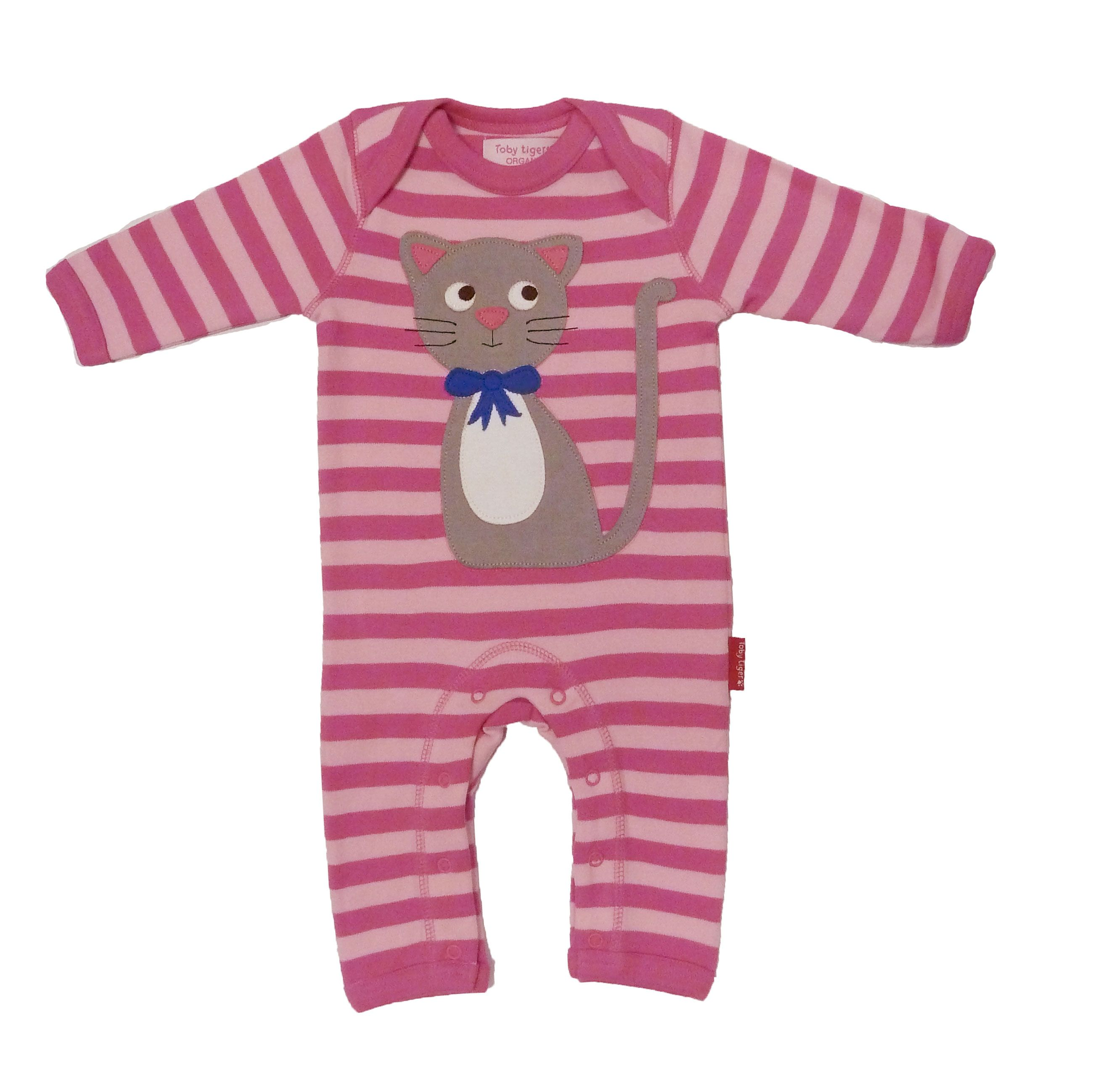 Girl`s organic cotton kitty sleepsuit