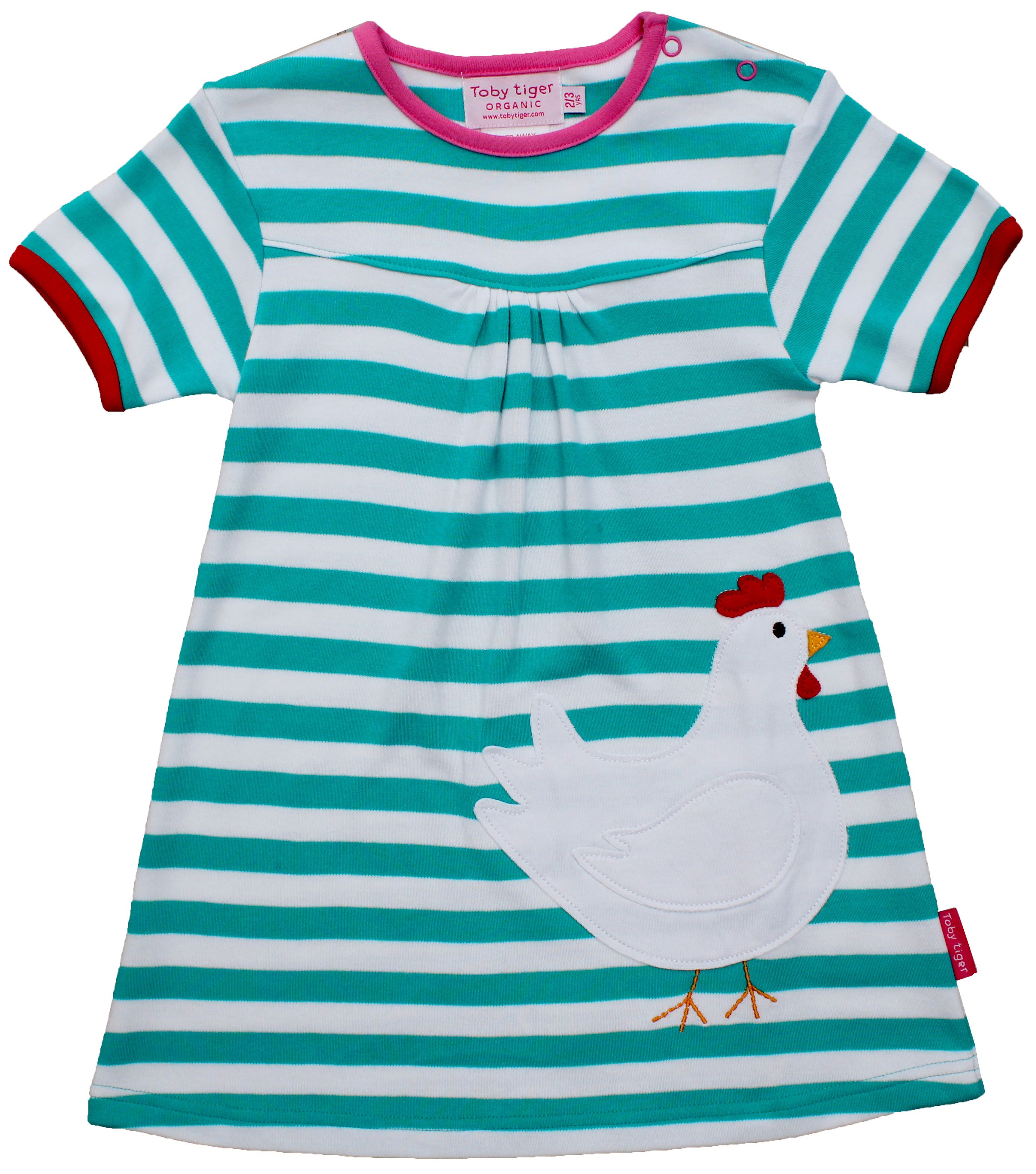 Girl`s organic applique chicken dress