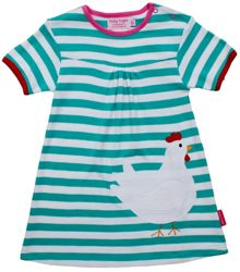 Toby Tiger Girl`s organic applique chicken dress