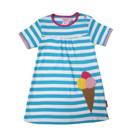 Toby Tiger Girl`s organic applique ice cream dress
