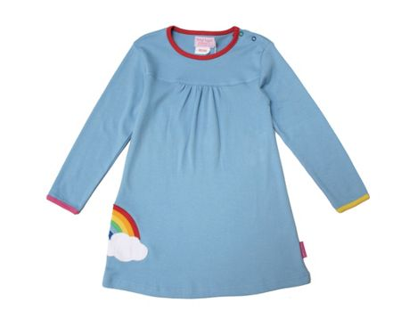 Toby Tiger Girl`s organic applique rainbow dress