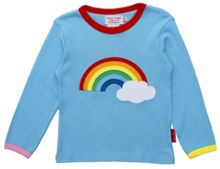 Toby Tiger Girl`s organic rainbow applique t-shirt