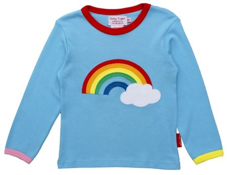Girl`s organic rainbow applique t-shirt