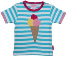 Toby Tiger Girl`s organic ice cream applique t-shirt