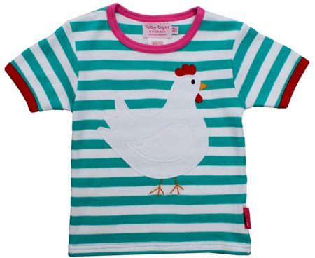 Toby Tiger Girl`s organic chicken applique t-shirt
