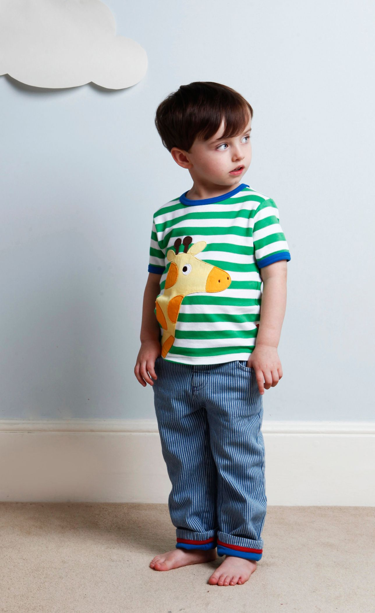 Kid`s organic giraffe applique t-shirt