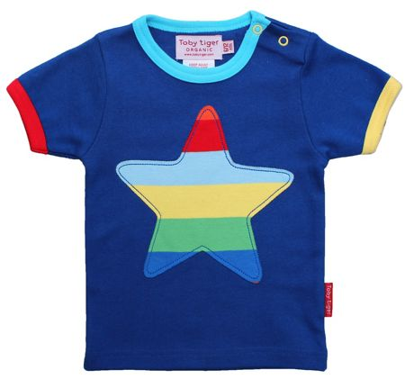 Toby Tiger Kid`s organic multistripe star applique t-shirt