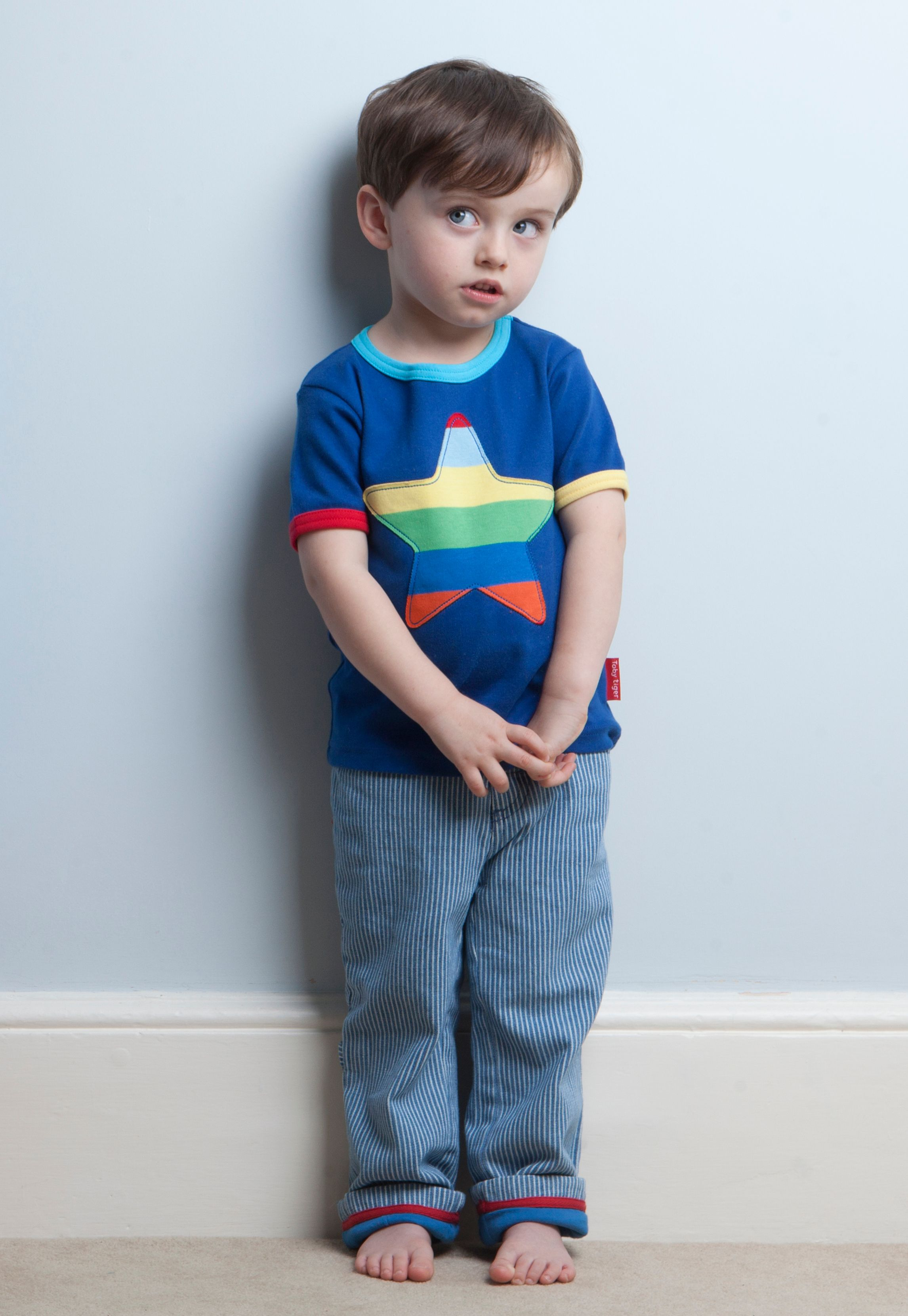 Kid`s organic multistripe star applique t-shirt