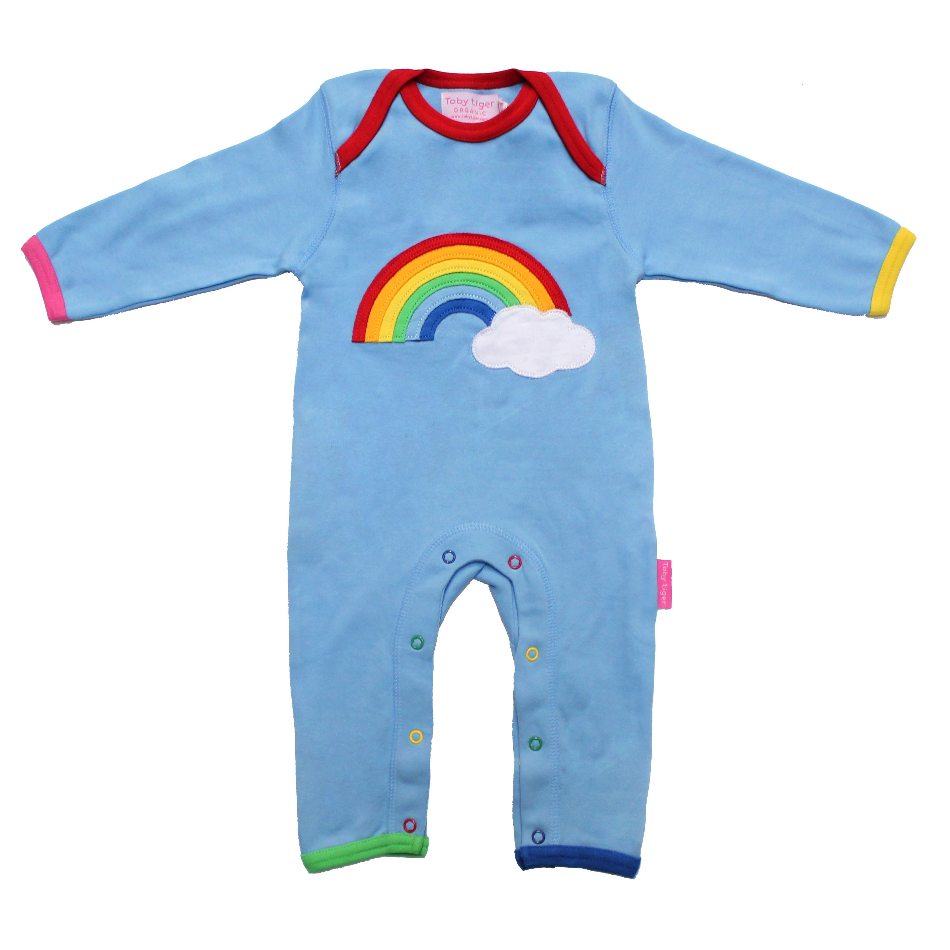 Kid`s organic cotton rainbow applique sleepsuit