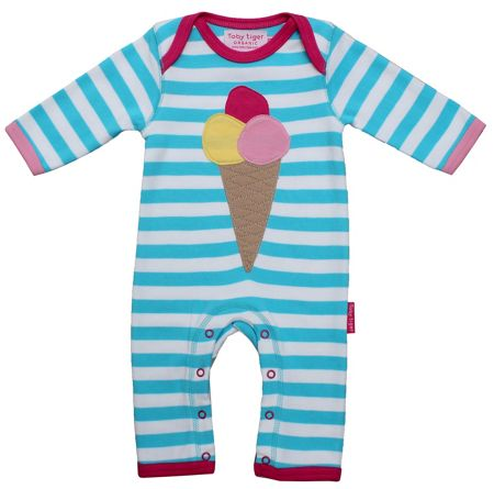 Toby Tiger Girl`s organic cotton icecream applique sleepsuit