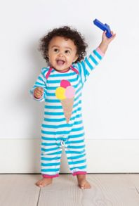 Girl`s organic cotton icecream applique sleepsuit