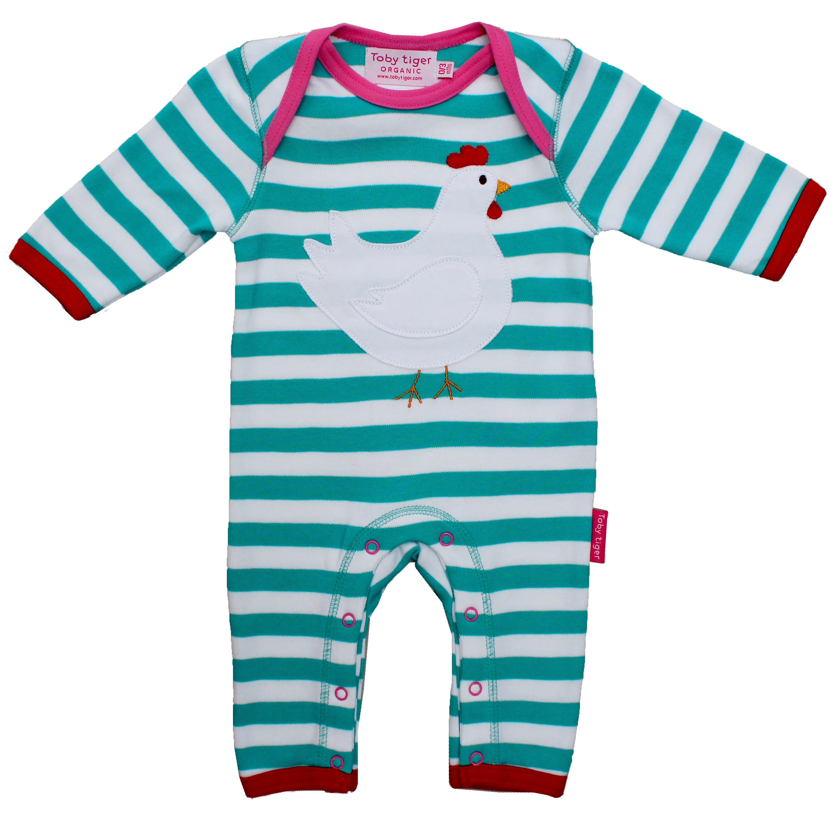 Girl`s organic cotton chicken applique sleepsuit