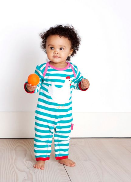 Toby Tiger Girl`s organic cotton chicken applique sleepsuit