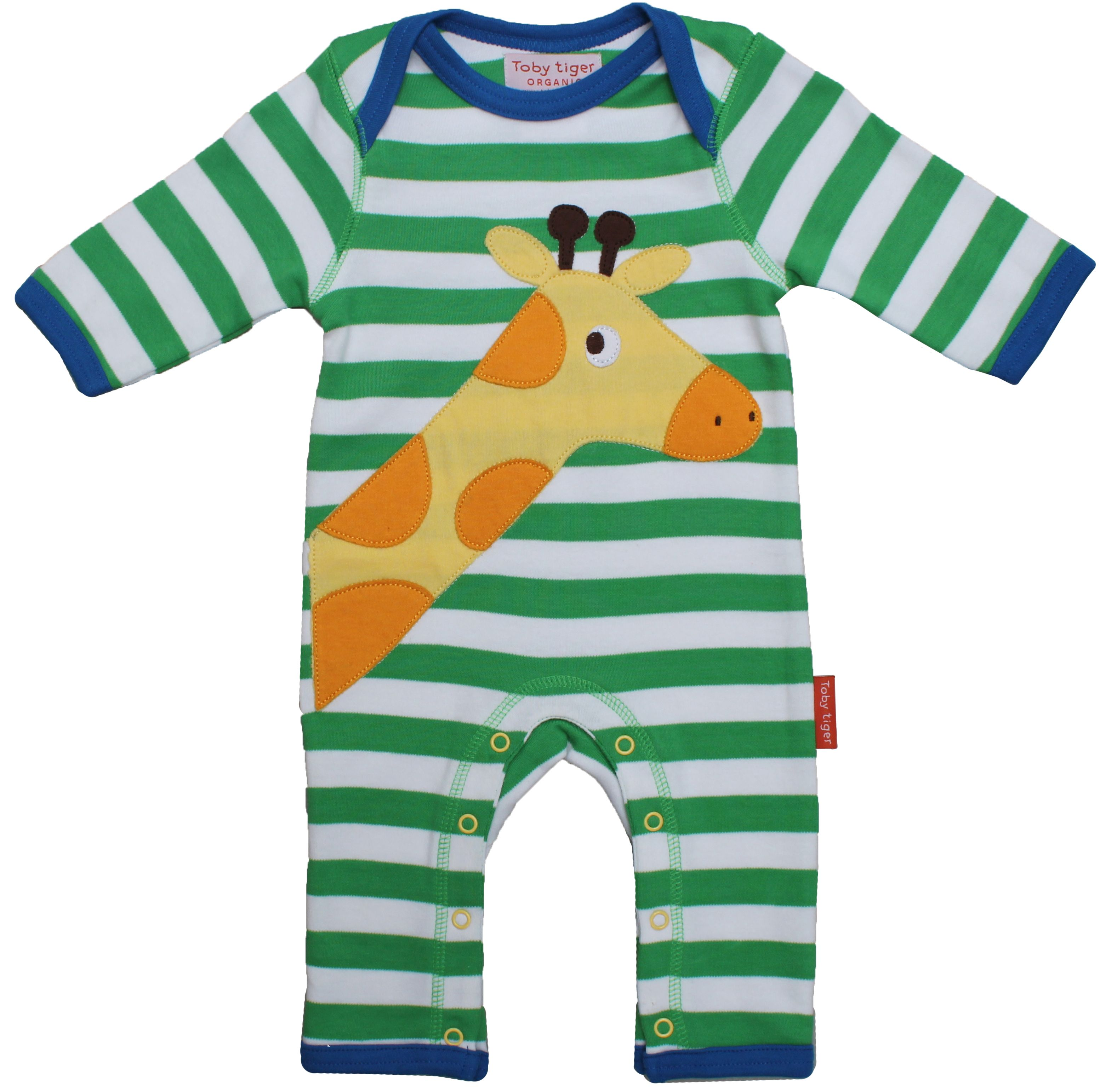 Kid`s organic cotton giraffe applique sleepsuit