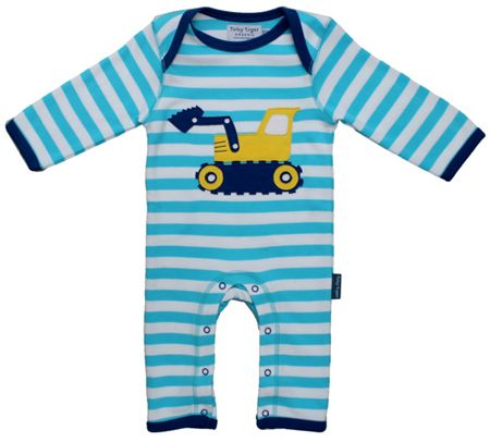 Toby Tiger Kid`s organic cotton digger applique sleepsuit