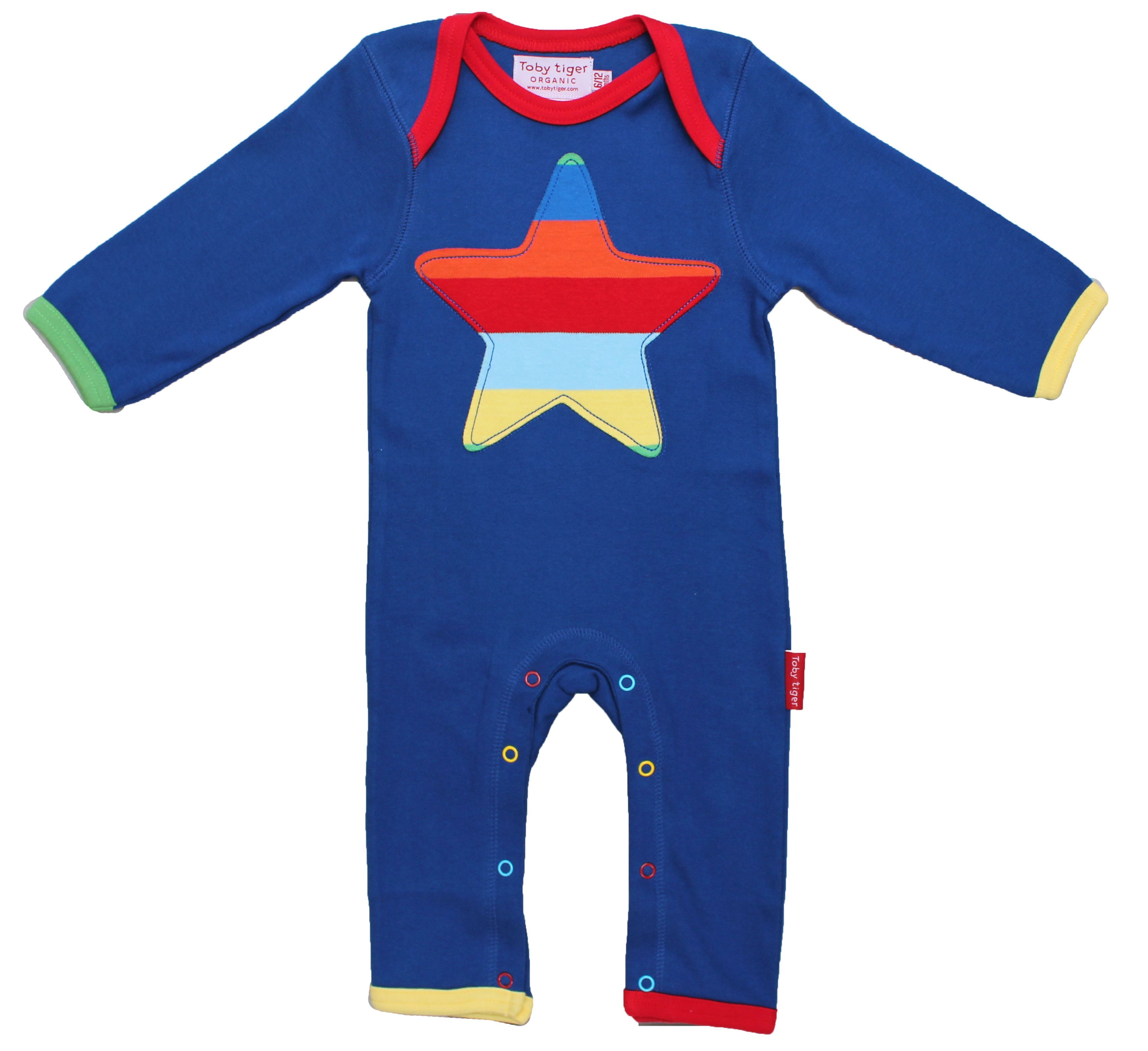 Kids organic cotton stripe star sleepsuit