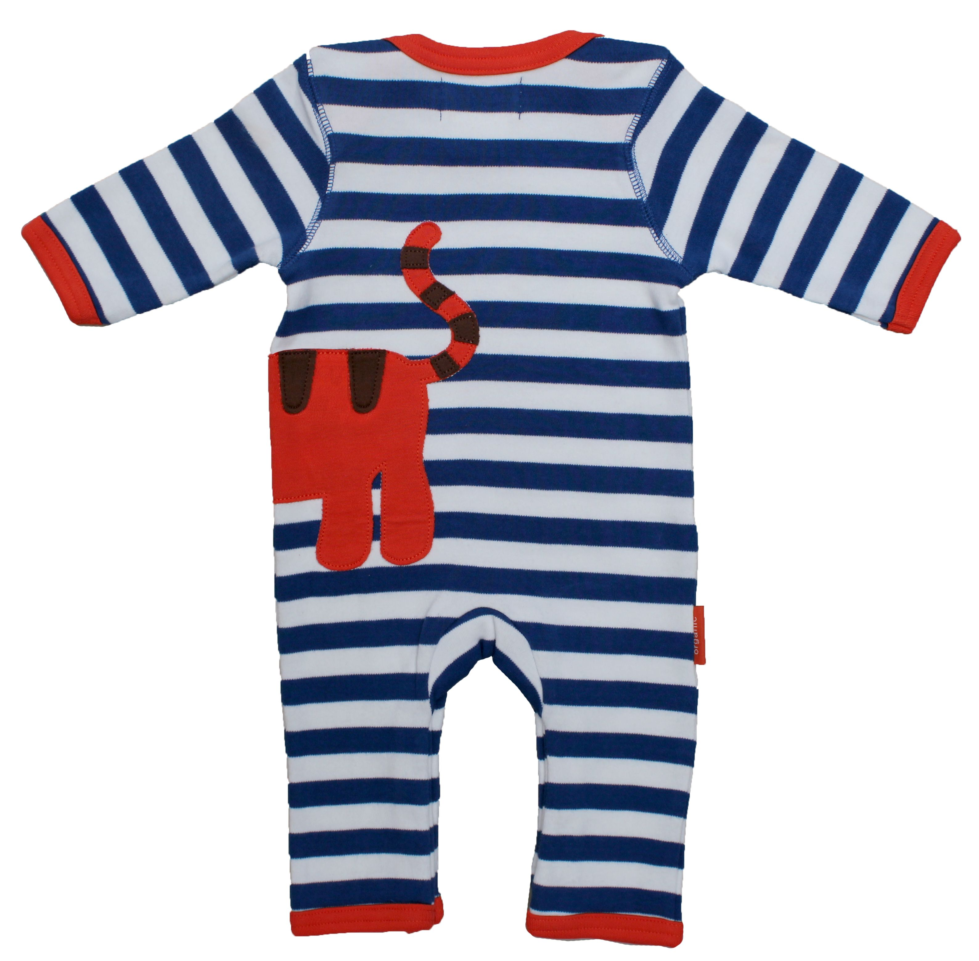 Kid`s organic cotton tiger applique sleepsuit