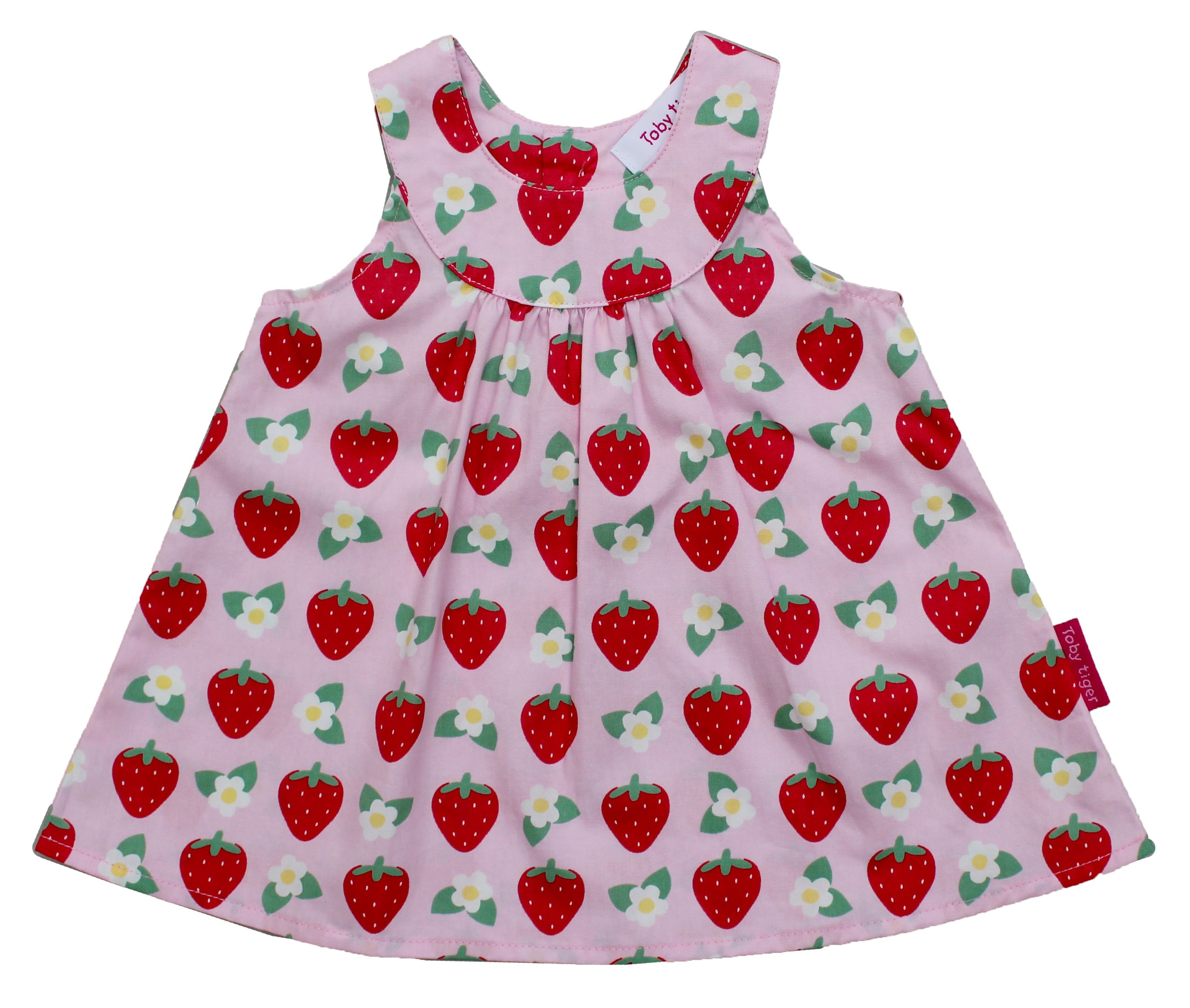Girl`s strawberry baby dress and pants