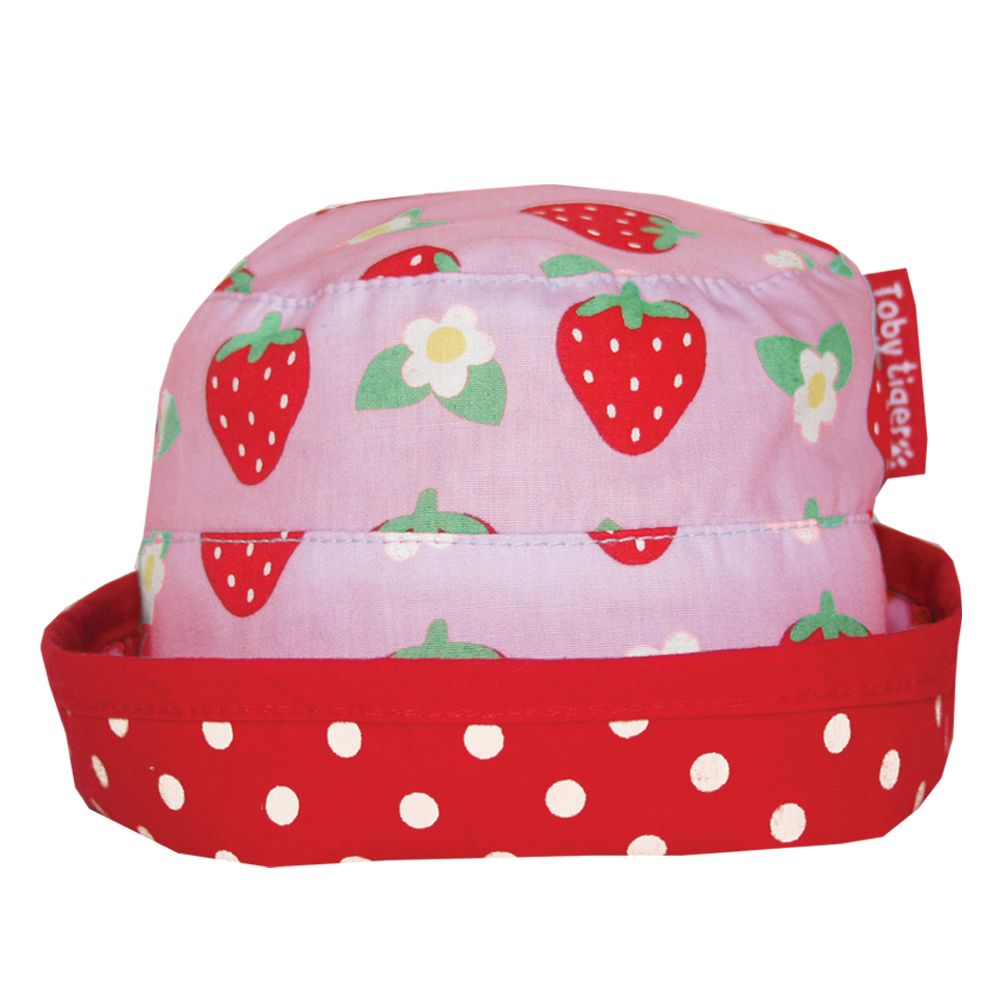 Girl`s reversible strawberry sun hat