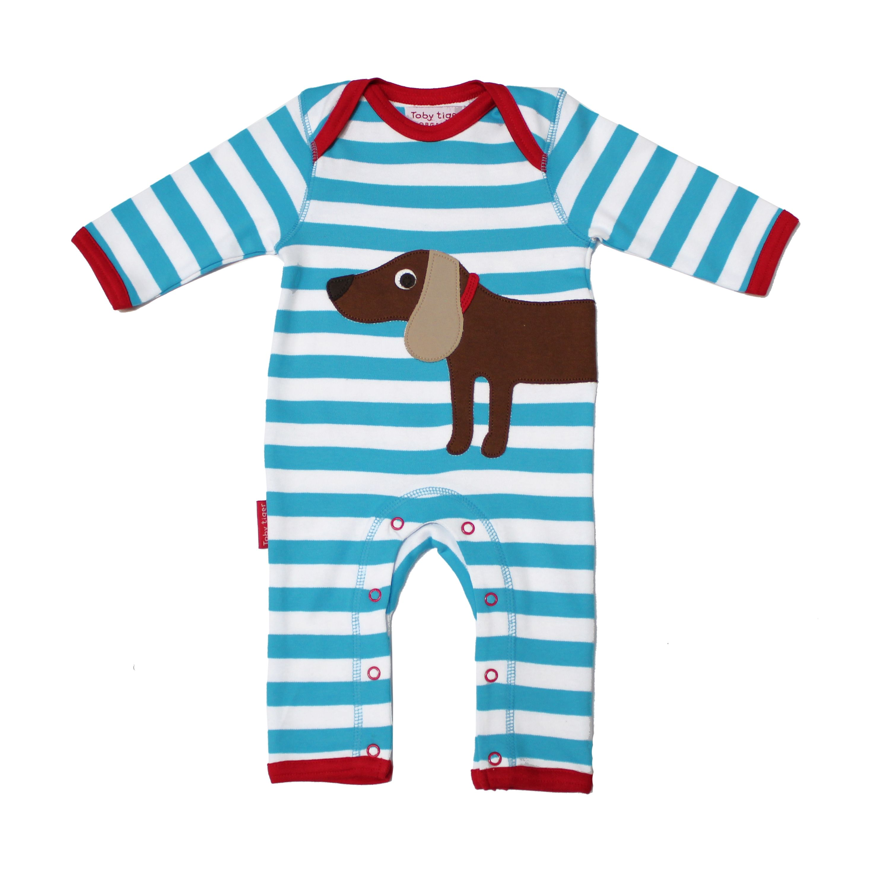 Kid`s organic cotton sausage dog applique sleepsu