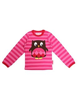 Toby Tiger Girls organic cotton owl t-shirt