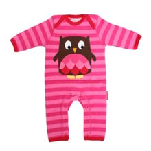 Girls organic cotton owl sleepsuit