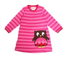 Girls organic cotton owl t-shirt dress