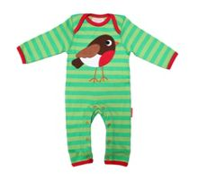 Kids organic cotton robin sleepsuit