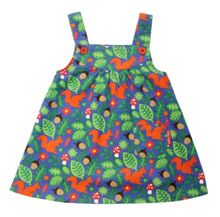 Girls squirrel cord pinafore dress