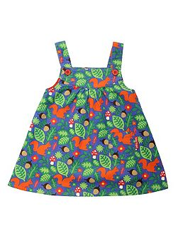 Toby Tiger Girls squirrel cord pinafore dress