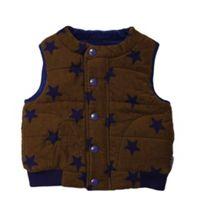 Kids brown cord gilet with blue stars