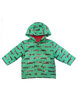 Kids sausage dog raincoat with hood