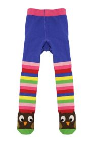 Girls cotton mix owl tights