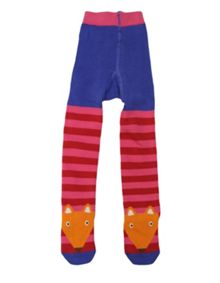 Girls cotton mix fox tights