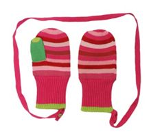 Toby Tiger Girls knitted stripe mittens