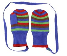 Toby Tiger Boys knitted stripe mittens
