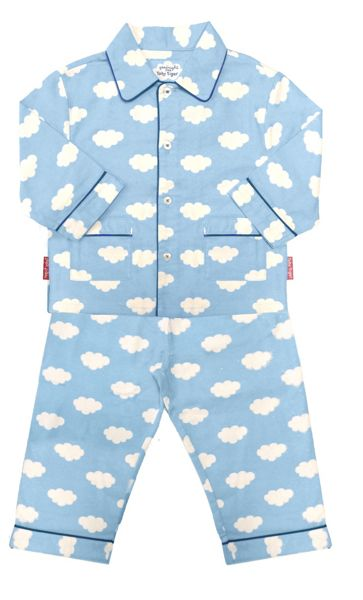Toby Tiger Kids cosy brushed cotton pjs cloud