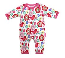Baby girls bird flower printed sleepsuit