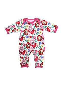 Toby Tiger Baby girls bird flower printed sleepsuit