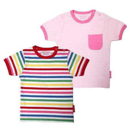 Toby Tiger Girls stripe t-shirt two pack