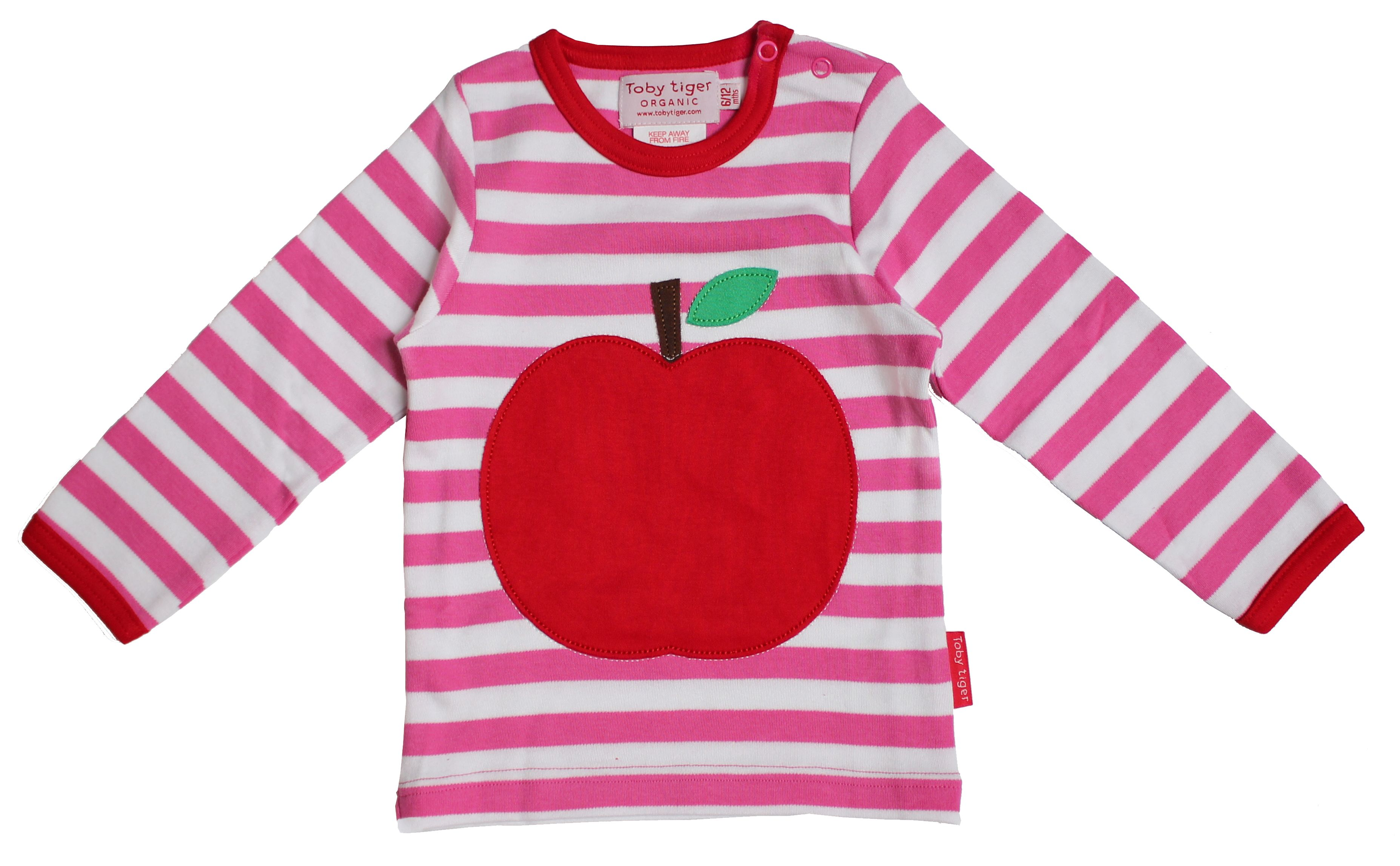 Toby Tiger Toby Tiger Baby girls apple applique t-shirt, Pink