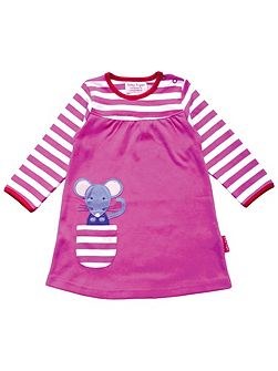 Girls Mouse Applique T-Shirt Dress