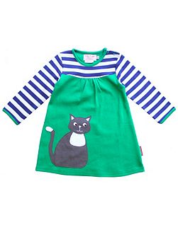 Girls Cat Applique T-Shirt Dress