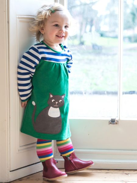 Toby Tiger Girls Cat Applique T-Shirt Dress