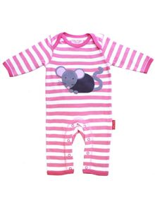Toby Tiger Baby Girls Mouse Applique Sleepsuit