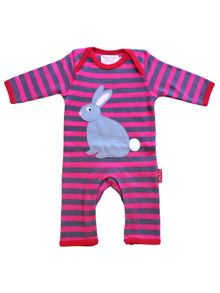Toby Tiger Baby Girls Rabbit Applique Sleepsuit