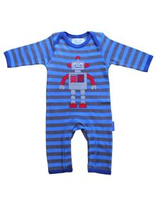 Toby Tiger Baby Robot Applique Sleepsuit