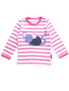 Toby Tiger Girls Mouse Applique T-Shirt