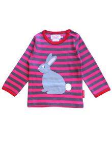 Toby Tiger Girls Rabbit Applique T-Shirt