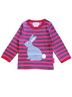 Girls Rabbit Applique T-Shirt